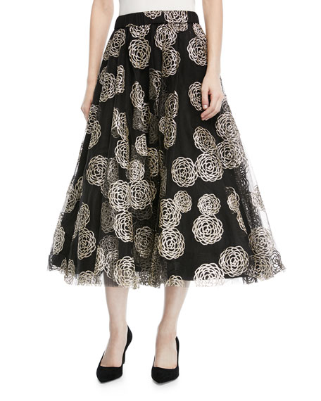 Floral-Embroidered Tulle Circle Skirt