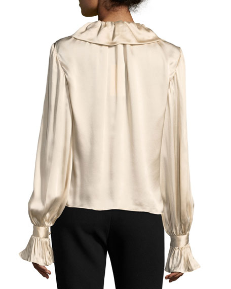 Ruffled Tie-Neck Satin Blouse