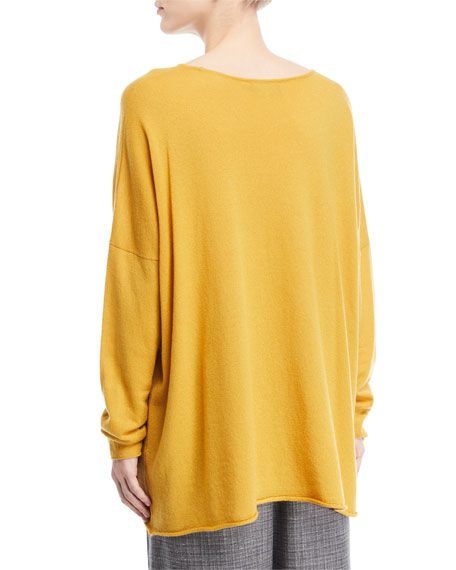 Slim-Sleeve Raw-Edge Cashmere Bateau Top