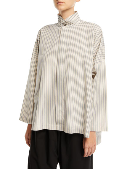 Striped Wide Double-Stand Collar Shirt