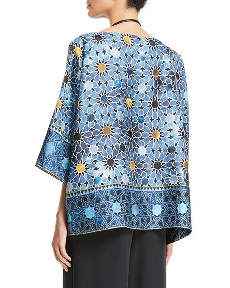 'Andalusian Tile' Print Silk T-Shirt