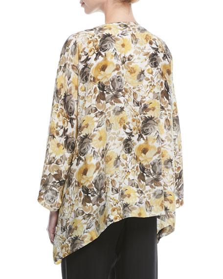 Floral-Print Silk Jacket