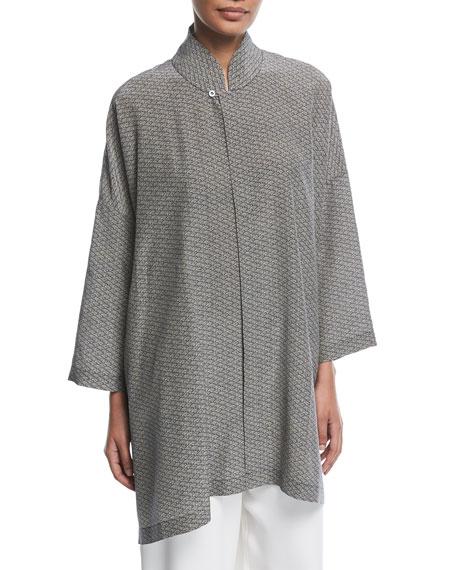 Mandarin-Collar Silk Blouse