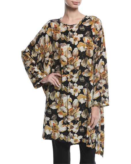 Floral-Print Silk Button-Front Shirt