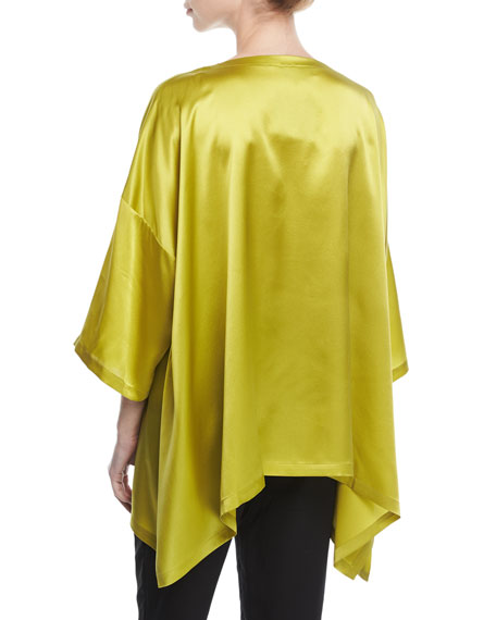 Drop-Sleeve Satin Top