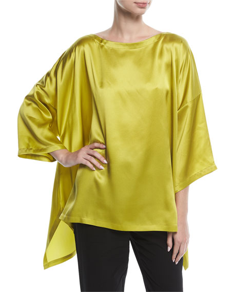 Eskandar Drop-Sleeve Satin Top