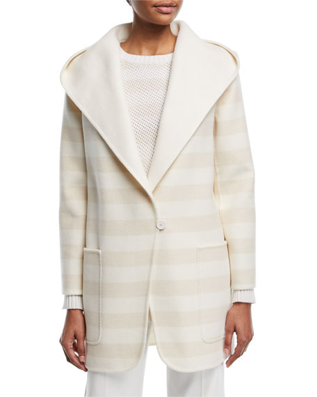 Hooded One-Button Short Coat