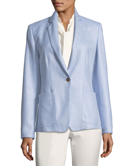 Notch-Collar One-Button Blazer