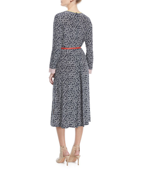 Long-Sleeve Dot-Print Silk Jumpsuit