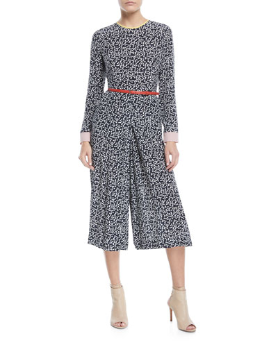 Long-Sleeve Dot-Print Silk Jumpsuit