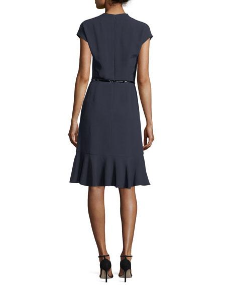 Cap-Sleeve Ruffle-Hem Dress