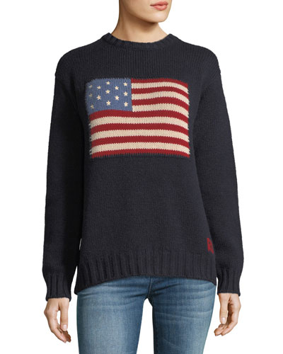Crewneck Long-Sleeve Cashmere Pullover Sweater with Flag