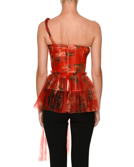 Botanical Organza One-Shoulder Top