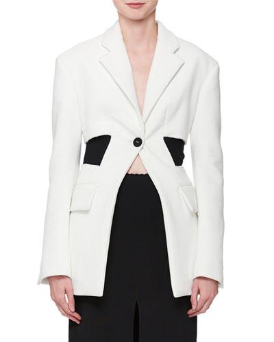 Single-Button Long-Sleeve Blazer Jacket