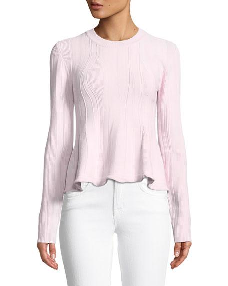 Long-Sleeve Ribbed Peplum Sweater