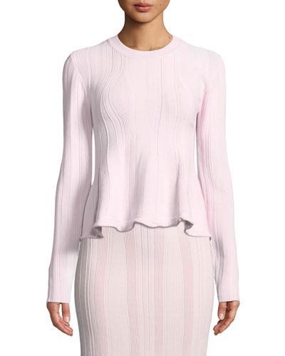 Long-Sleeve Ribbed Peplum Sweater