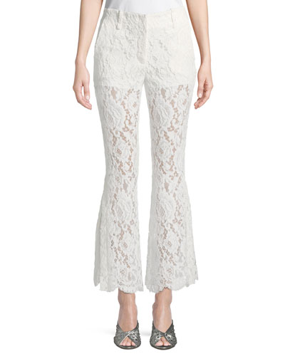 Cropped Flared Lace Pants