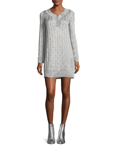 V-Neck Long-Sleeve Metallic-Knit Tunic Dress