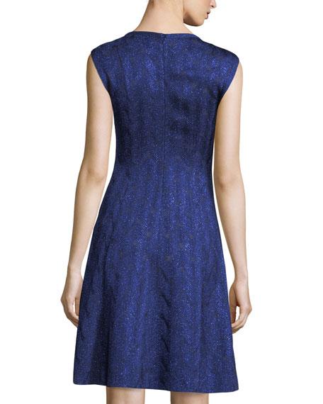 Sleeveless Metallic Fit-and-Flare Dress
