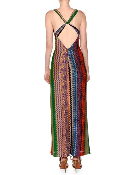 Plunging Twist-Back Multicolor Knit Maxi Dress