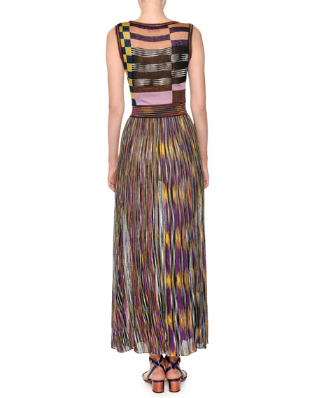Sleeveless Multicolor Pleated Knit Maxi Dress