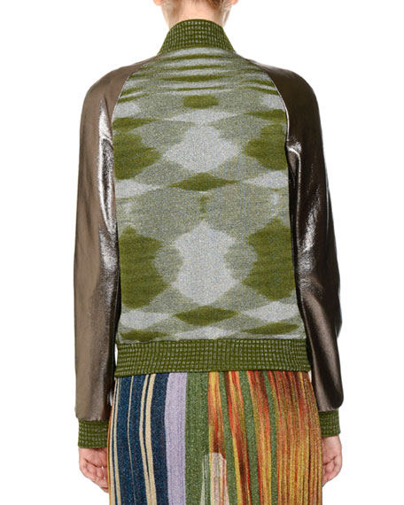 Mixed-Media Leather Space-Dye Bomber Jacket