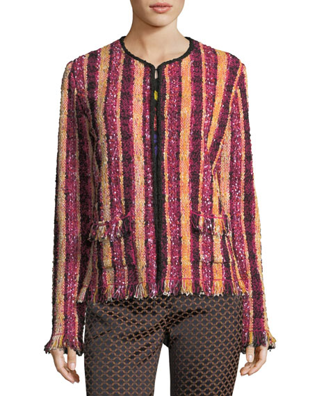 Stripe Beaded Tweed Jacket