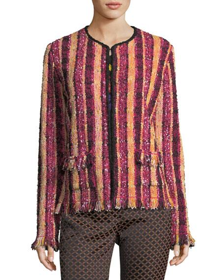 Stripe Beaded Tweed Jacket