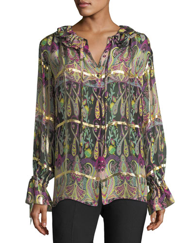 Windowpane Gold Paisley Blouse