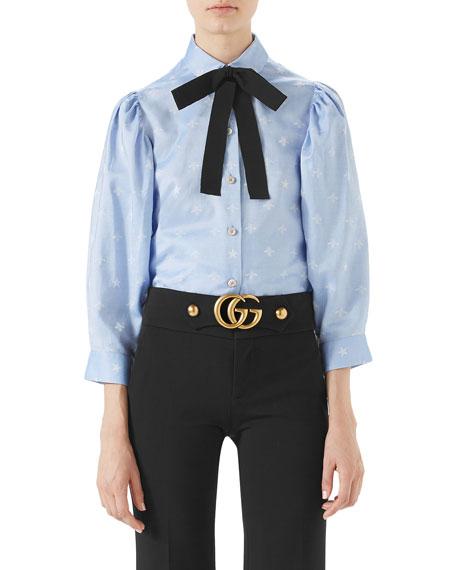 Bee-Jacquard Oxford Cotton Shirt