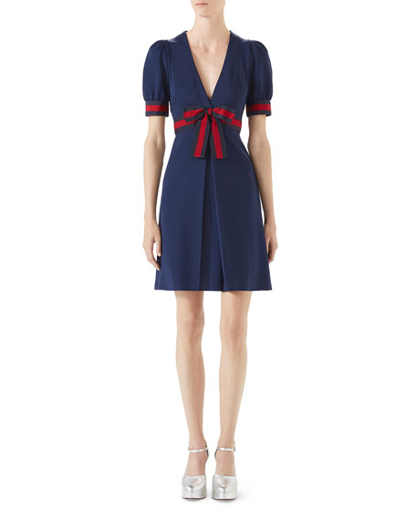 53987e780 Gucci Jersey V-Neck Dress with Web