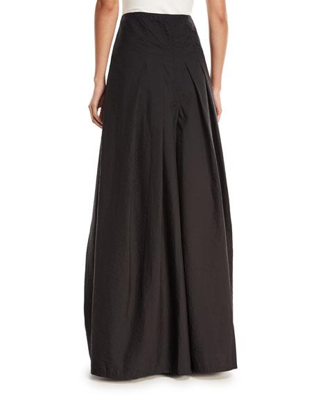 Crinkled Cotton Wide-Leg Skirt Pants