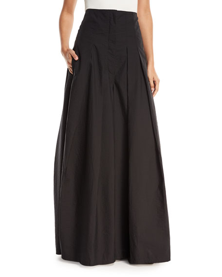 Crinkled Cotton Wide-Leg Skirt Pants