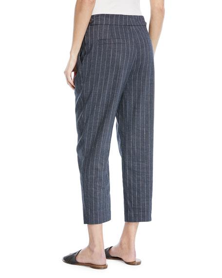 Linen Pinstripe Straight-Leg Pants with Monili Tab