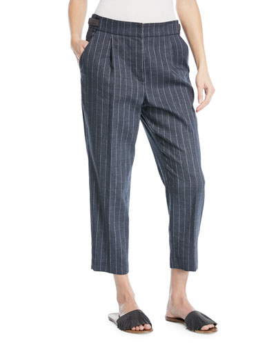 Linen Pinstripe Straight-Leg Pants with Monili Tab