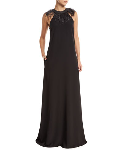 Sleeveless Silk-Crepe Evening Gown with Feather Collar