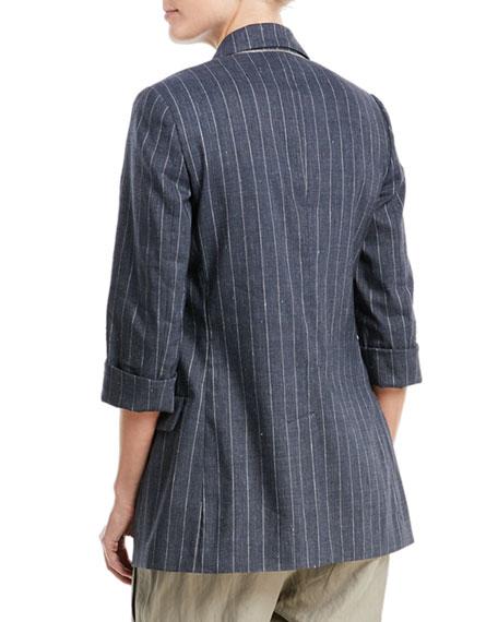 Linen-Blend Pinstripe Double-Breasted Blazer