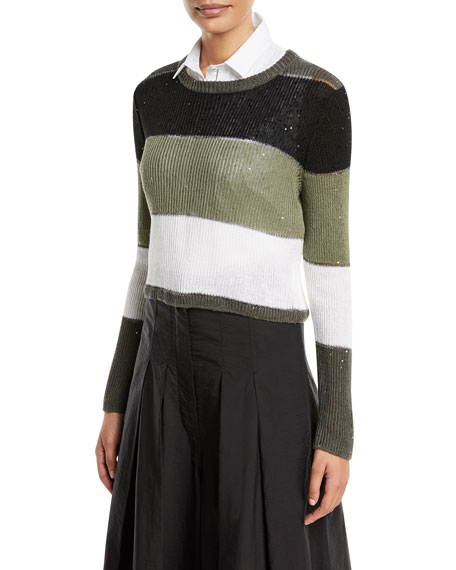 Crewneck Long-Sleeve Striped Pullover Sweater