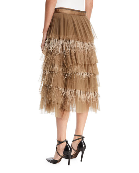 Tiered Tulle Feathered Midi Skirt