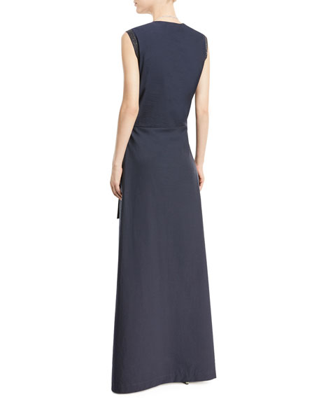 Sleeveless Wrap-Front Voile Maxi Dress
