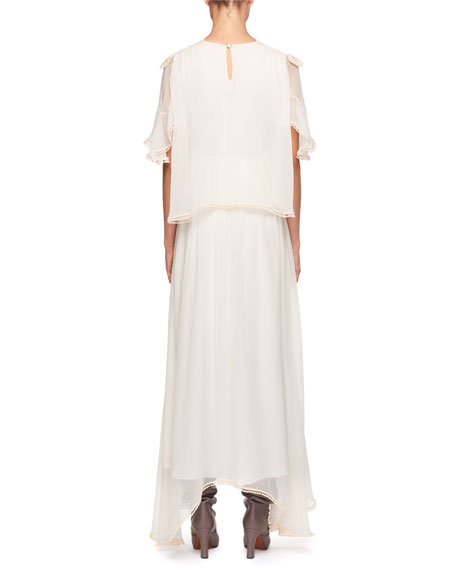 High-Neck Flutter-Sleeve Evening Gown w/ Scalloped Edges