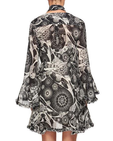 Dotty Flowers Tie-Neck Dress