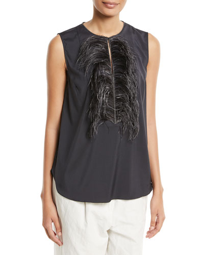 Feather-Embellished Sleeveless Top