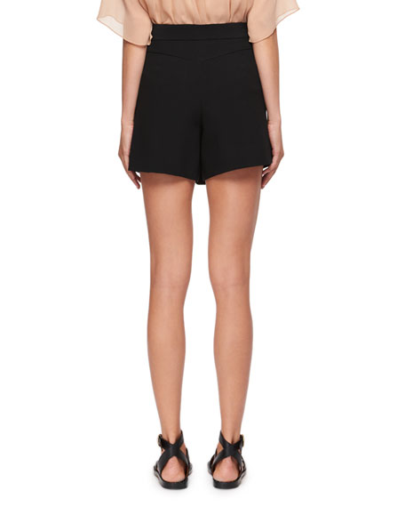 Diagonal-Front Crepe Mini Short-Skirt