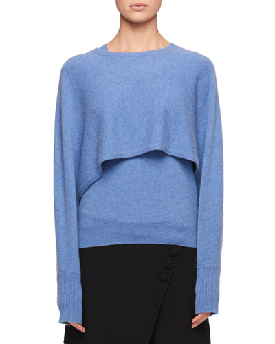 Crewneck Cashmere Cape-Back Sweater