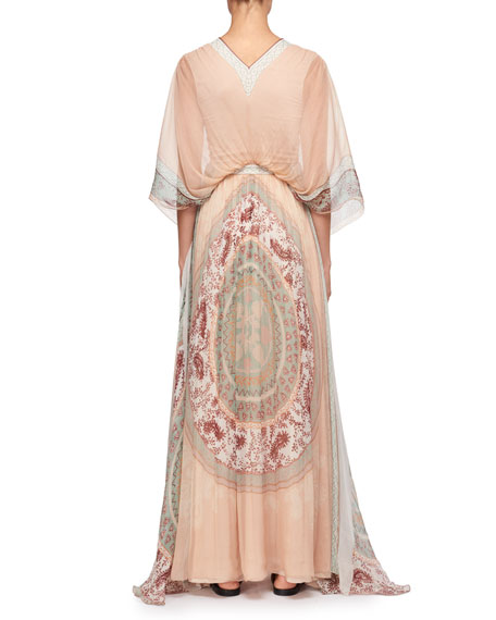 Mandala-Print V-Neck Kaftan Evening Gown