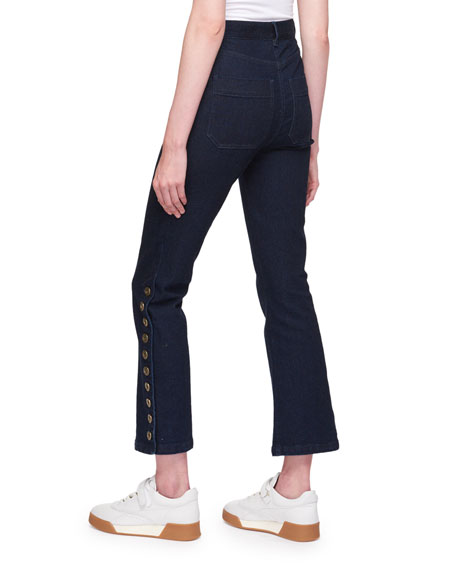 Five-Pocket Flared-Leg Cropped Jeans w/ Button Trim