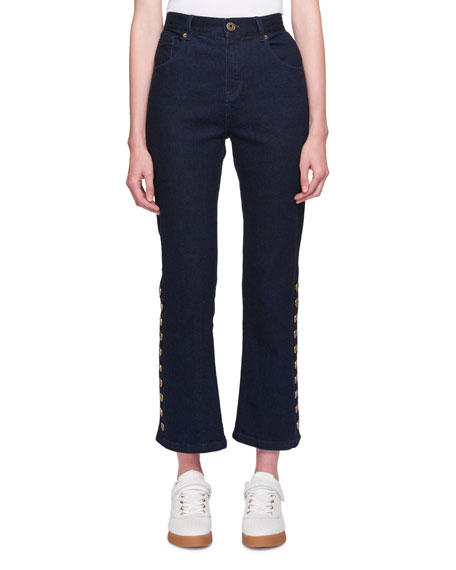 Five-Pocket Flared-Leg Cropped Jeans w/ Button Trim