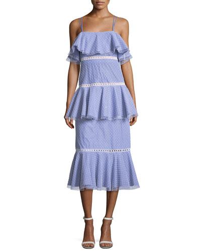 Sleeveless Tiered Dotted Midi Dress