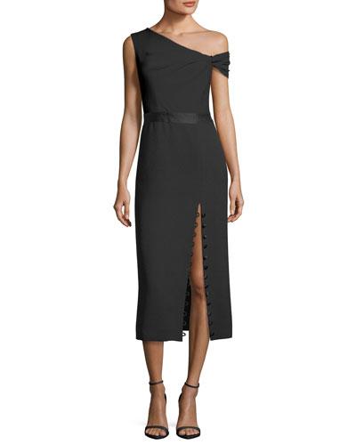 Off-Shoulder Bicolor Midi Dress